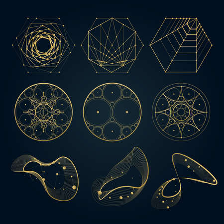 Illustration pour Sacred geometry forms, shapes of lines, logo, sign, symbol. circle, hexagon, abstract shapes, isolated on black. - image libre de droit