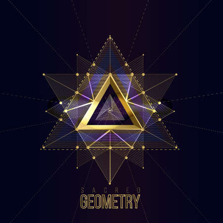 Illustration pour Sacred geometry forms on space background, shapes of gold lines for logo, sign and symbol.Geometry symbolic triangle. Vector isolate gold shapes on dark color. - image libre de droit