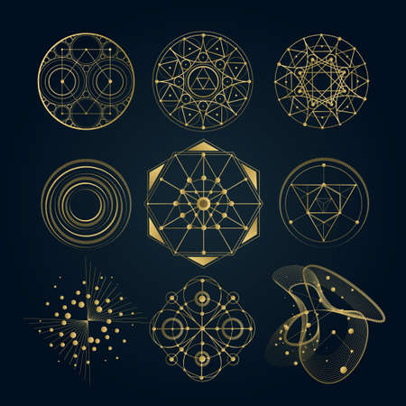 Illustration for Sacred geometry forms, shapes of lines, sign, symbol. - Royalty Free Image