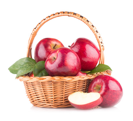 Photo for red apples in a basket - Royalty Free Image