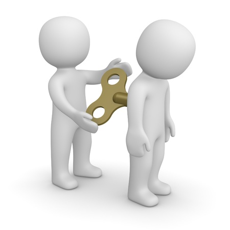 3d man encouraging his partner by key for mechanical toy