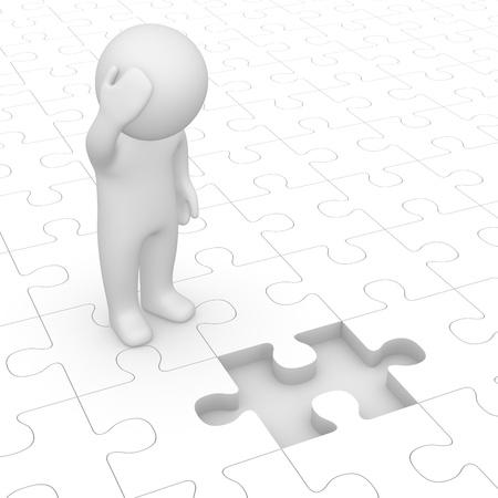 Foto de 3d man looking at missing piece of puzzle - Imagen libre de derechos