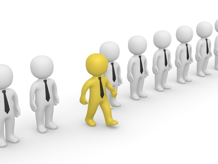 Rank of 3d people with one going out. 3d rendering.