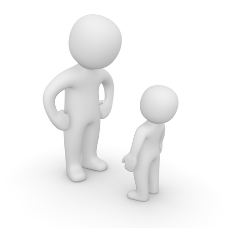 Big and small 3d peoples. 3d render.
