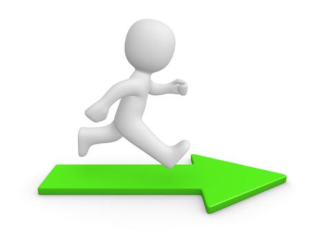 Photo pour 3d man running on green arrow. 3d render. - image libre de droit