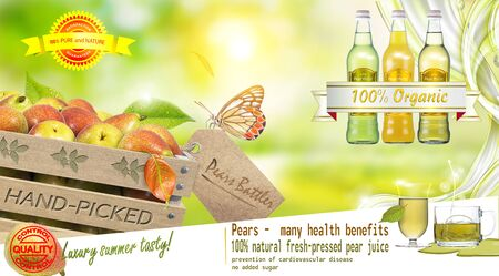 Photo pour Advertising poster with a wooden box of fresh pears and bottles of pear juice - image libre de droit