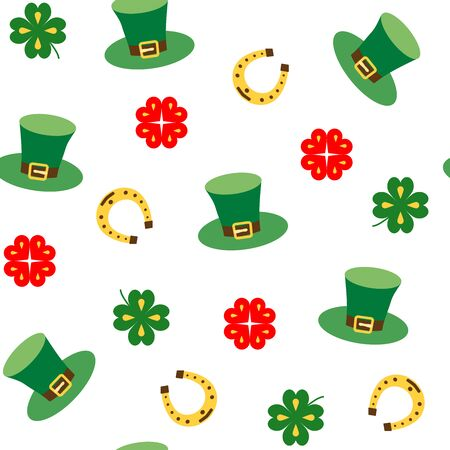 Illustration for Seamless vector pattern with clover leaf, hat and horseshoe for luck. St. Patricks Day texture print. Individual elements on white background. - Royalty Free Image