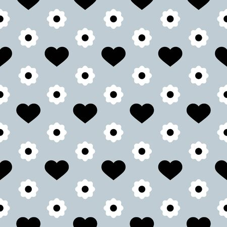 Illustration pour Vector Seamless Pattern. Black hearts and white flowers on a light grey background. Modern illustration great for festive background, design greeting cards, textiles, packing, wallpaper, etc. - image libre de droit