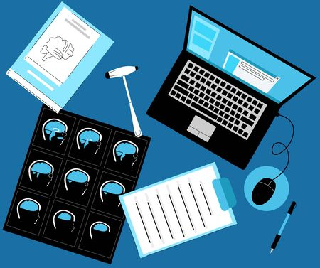 Illustration pour Vector flat illustration neurologist s Desk, workplace, top view. Here is film, MRI scan, medical books on neurology, hammer, laptop with electronic chart of patient, documents. - image libre de droit
