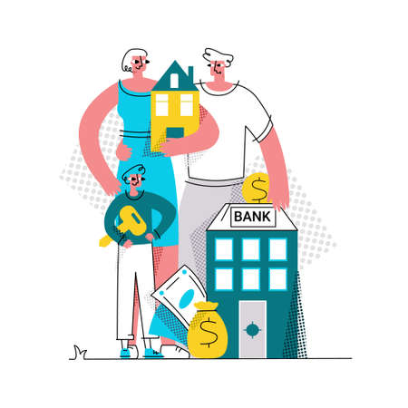 Illustration pour Vector flat abstract illustration of family who bought house with mortgage. At bottom is Bank where man puts coin. Concept of buying home, house, apartment, mortgage, loan, etc. - image libre de droit