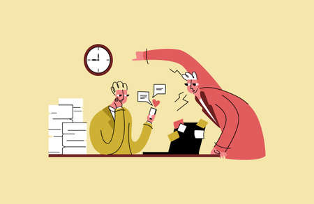 Illustration pour procrastination, laziness, dependence on gadgets - image libre de droit