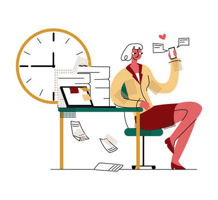 Illustration pour procrastination, dependence on gadgets, devices - image libre de droit