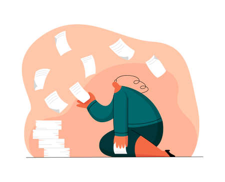 Illustration pour tired woman, office worker, dealing with documents - image libre de droit