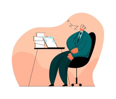 Illustration pour man, businessman who fell asleep at workplace - image libre de droit