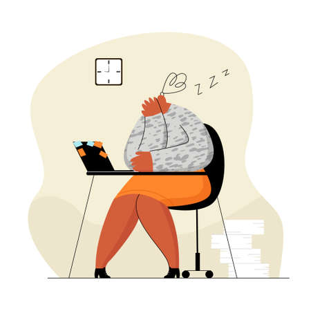Illustration pour office worker who fell asleep in workplace - image libre de droit