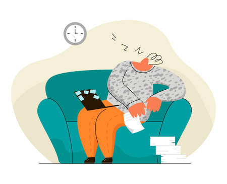 Illustration pour man, employee at remote job, who fell asleep - image libre de droit