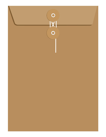 Brown paper sealed with string envelope template vector isolated on white