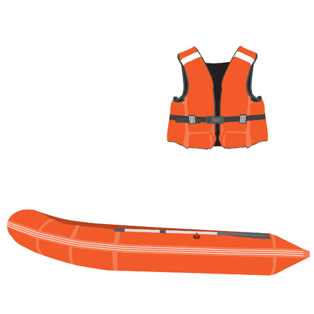 Orange life vest and inflatable boat with oar vector set. Rubber boat, life jacket