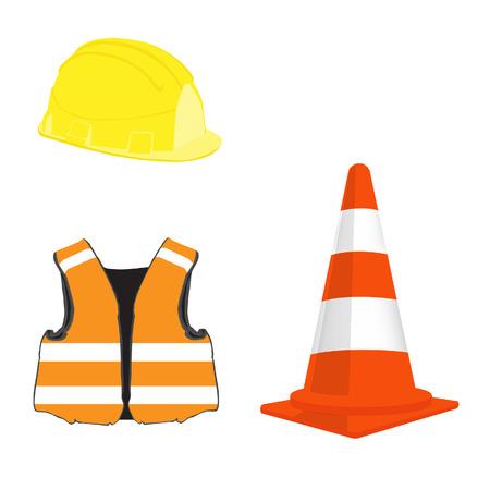 Building set with orange traffic cone, yellow helmet and orange safety vest vector