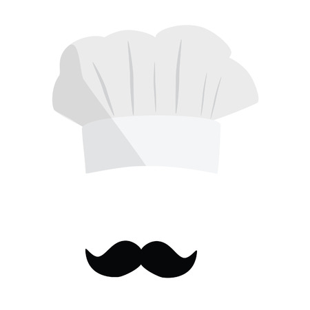 87af3881e31ab White cook hat, chef hat with black mustache. Cook hat vector icon.  Restaurant