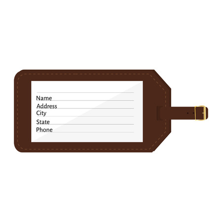 Brown leather luggage tag with name, address, city, state, phone fields. Luggage label with strap vector illustration. Travel tag