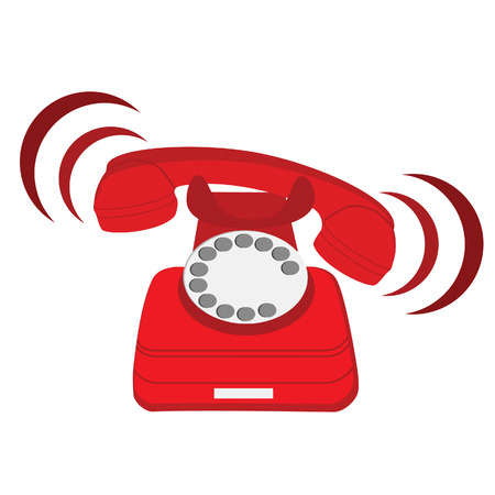 Illustration for Vector illustration of ringing red stationary phone. Old red telephone. Red phone with rotary dial - Royalty Free Image