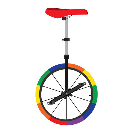 Vector illustration unicycle or one wheel bicycle. Cartoon flat icon. Circus colorful bicycle