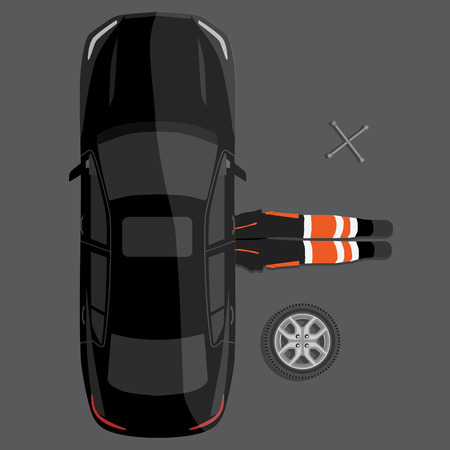 Vector illustration car repair service concept. Car mechanic lying down under auto underbody doing repair work top view.