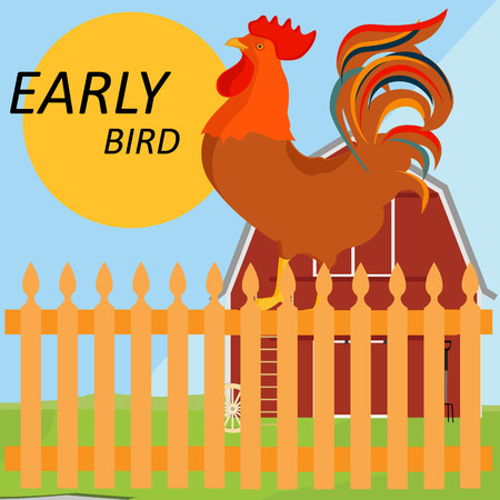 Illustration pour Vector illustration early bird concept. Rooster, cock on fence in a countryside - image libre de droit