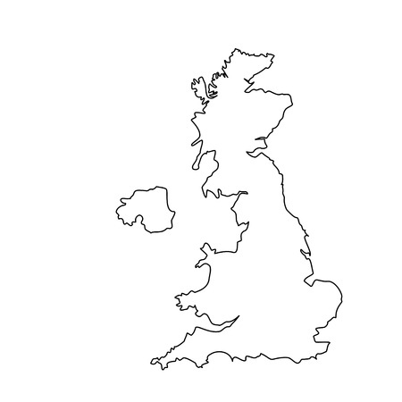 Vector illustration uk map outline drawing. England map line icon. United Kingdom of Great Britain. Uk map counties