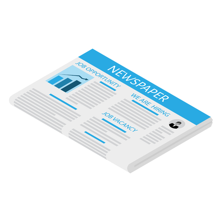 Isometric newspaper icon vector. Blank newspaper. Business and finance