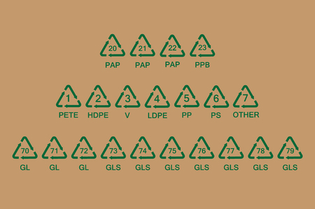 Raster illustration set, collection of glass, paper and plastic  recycle, recycling symbols, signs or codes isolated on  background for  packaging.