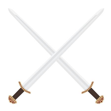 Two crossed medieval viking swords