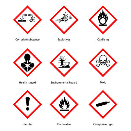 Raster illustration GHS pictogram hazard sign set, set icons isolated on white background. Dangerous, hazard symbol collections