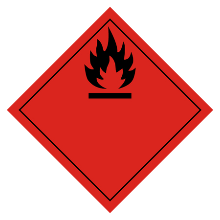 Raster illustration hazard pictogram- flammable transport sign isolated on white background. Dangerous goods transport