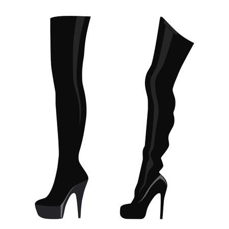 A Vector illustration black thigh high boots isolated on white background. Woman fashion boots design