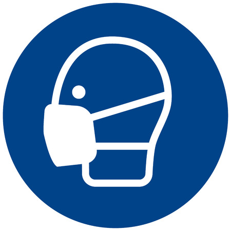 Illustration pour Mandatory sign vector  Safety face mask must be worn, safety protection mask symbol, label, sticker - image libre de droit