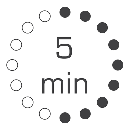 The 5 minutes, stopwatch vector icon, digital timer. clock and watch, timer, countdown symbol.