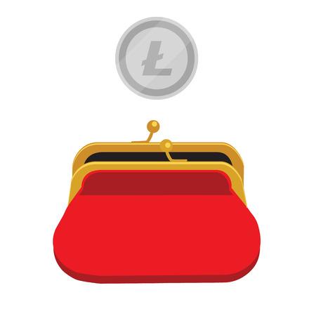 Litecoin wallet concept  SIlver litecoin coin red purse: Royalty