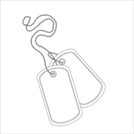 Ilustración de Vector illustration military blank identity tag outline drawing thin line. Pair of dog tag on chain - Imagen libre de derechos