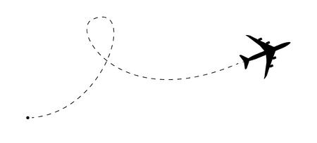 Ilustración de Airplane line path vector icon. Air plane flight route with start point and dash line trace - Imagen libre de derechos