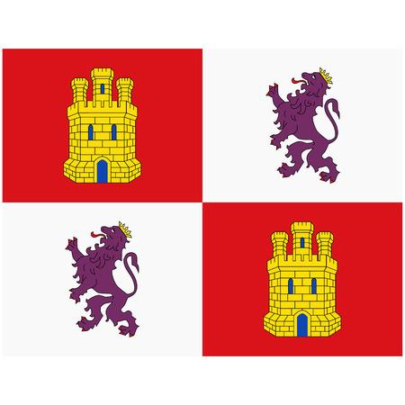 Flag of Castile and Leon or Castilla y Leon autonomous communities of Spain. Vector illustration.