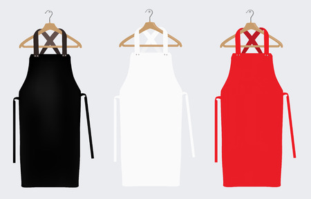 Foto de White, red and black aprons, apron mockup, clean apron. Raster illustration - Imagen libre de derechos