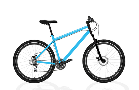 Illustration pour New blue bicycle isolated on a white background - image libre de droit