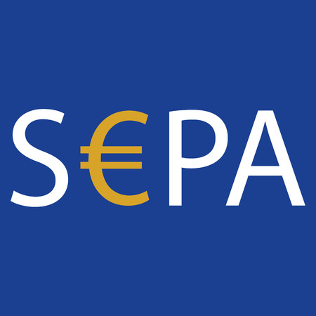 SEPA - Single Euro Payments Area sign isolated on blue background. Raster