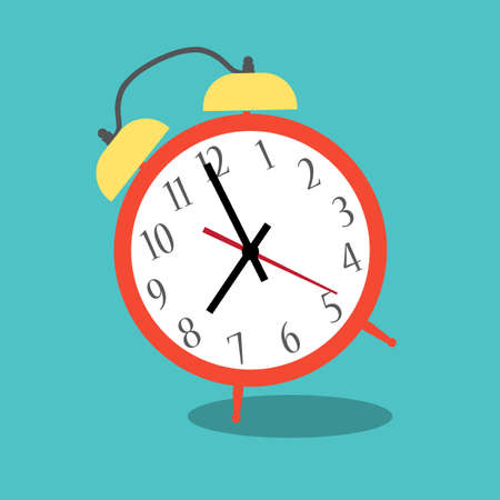 Illustration pour Alarm clock red wake-up time isolated on background in flat style. Vector illustration - image libre de droit