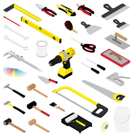 Photo for Collection of diy hand tools isolated on white background isometric view - Royalty Free Image