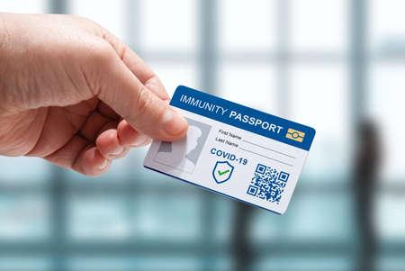 Photo pour International passport on vaccination against COVID-19 for travel. - image libre de droit