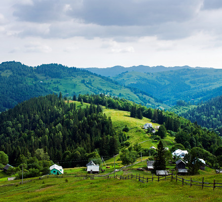 Small mountain village. Ukrainian Carpathians