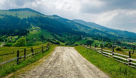 Dirty road in a mountain. Ukrainian Carpathians